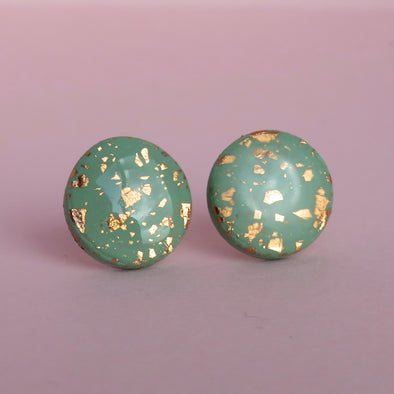 Sage Green and Gold Foil Studs