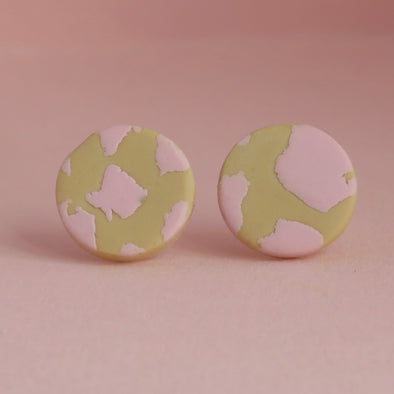Pink and Beige Animal Print Studs