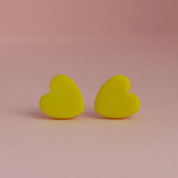 Classic Canary Yellow Small Heart Studs