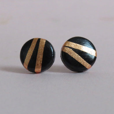 Black and Rose Gold Foil Striped Studs