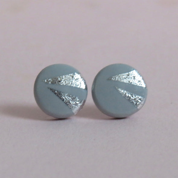 Grey studs with silver triangles