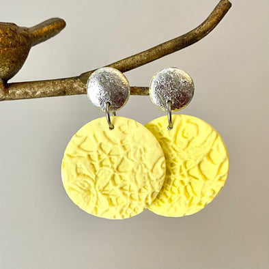 Lemon and Silver Lace Dangles