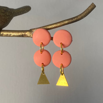Coral and Gold Triangle Dangles