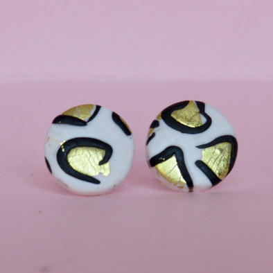 Gold Leaf Leopard Large Studs