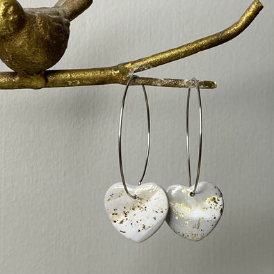 Grey and Gold Marble Heart Hoop Dangle