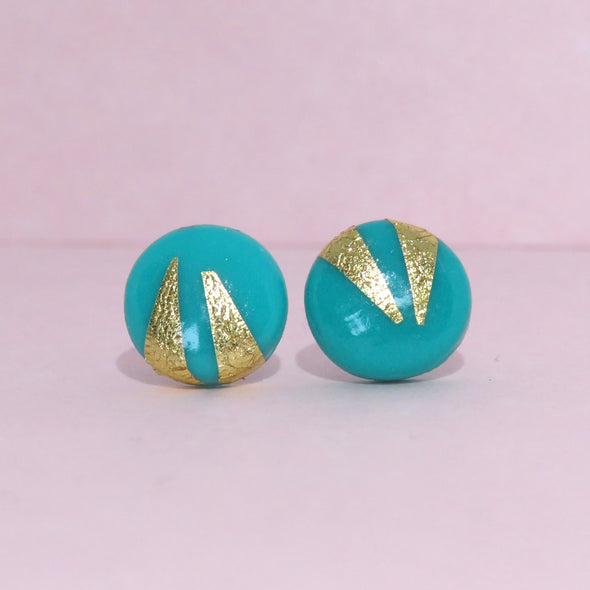 Jade Green and Gold Foil Studs