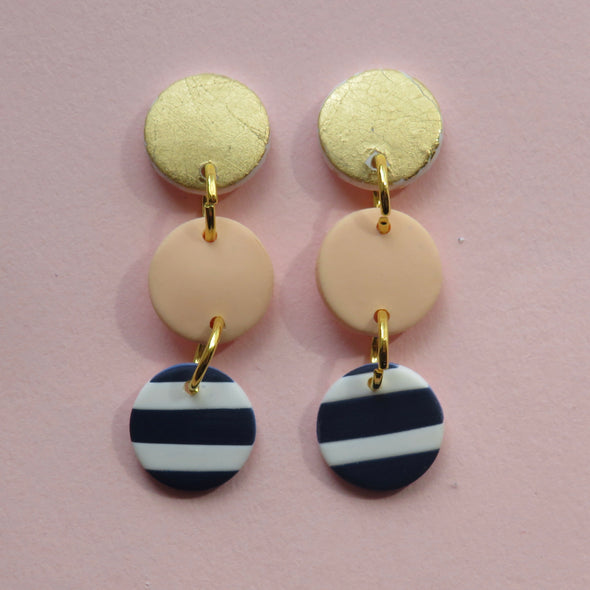 Peach, Gold and Striped Triple Dangles