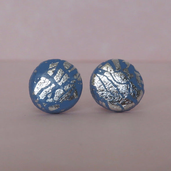 Cornflower Blue and Silver Studs [SALE]