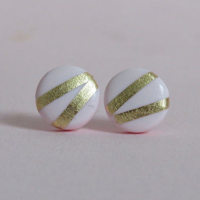 Baby Pink and Gold Striped Studs