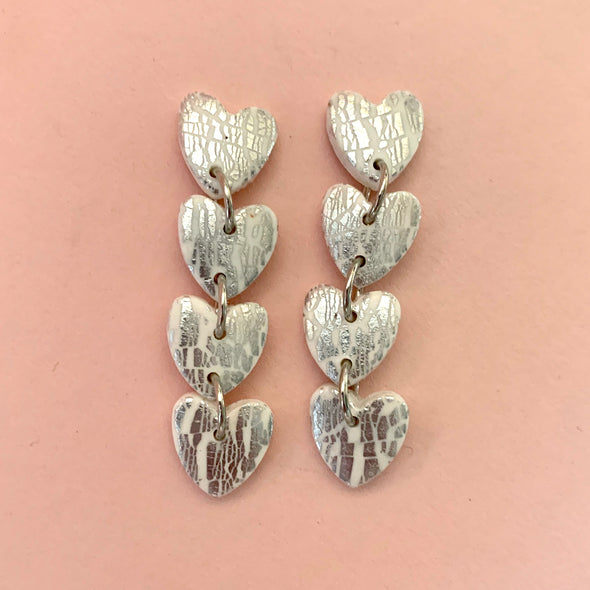 White and Silver Heart Dangles [SALE]