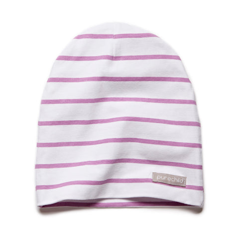 pure white/purple striped beanie