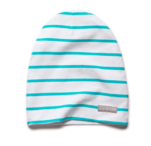 pure white/atlantis striped beanie