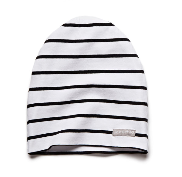 pure white/black striped beanie