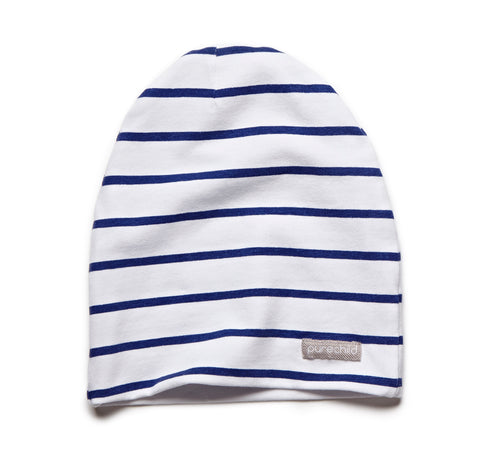 pure white/navy striped beanie
