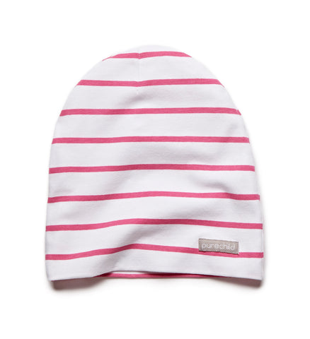 pure white/pink striped beanie
