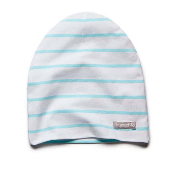 pure white/turquoise striped beanie