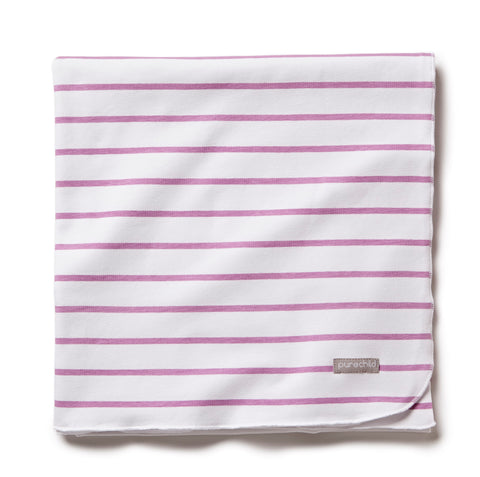 pure white/purple striped blanket