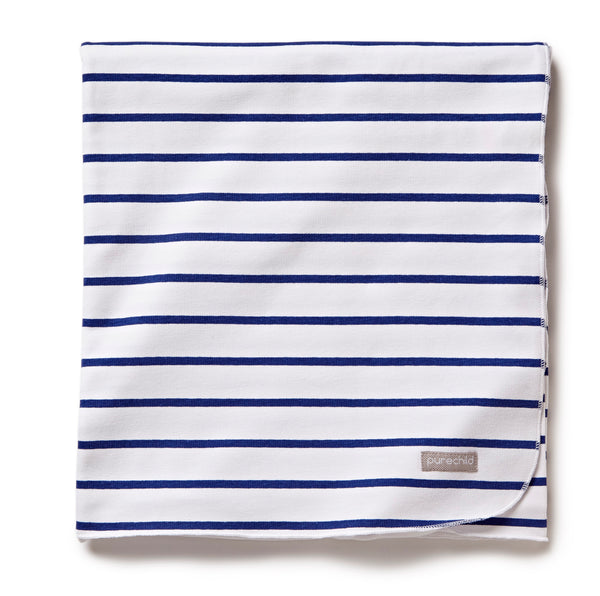 pure white/navy striped blanket