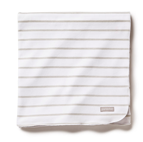 pure white/neutral striped blanket