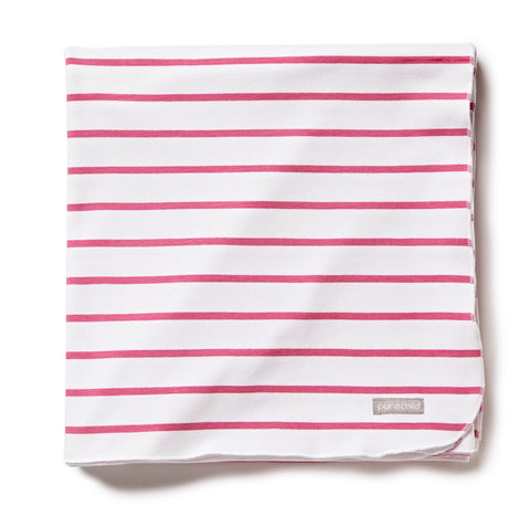 pure white/pink striped blanket