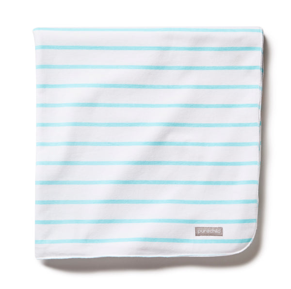 pure white/turquoise striped blanket