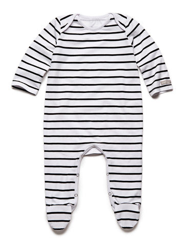 pure striped black fullbody onesie