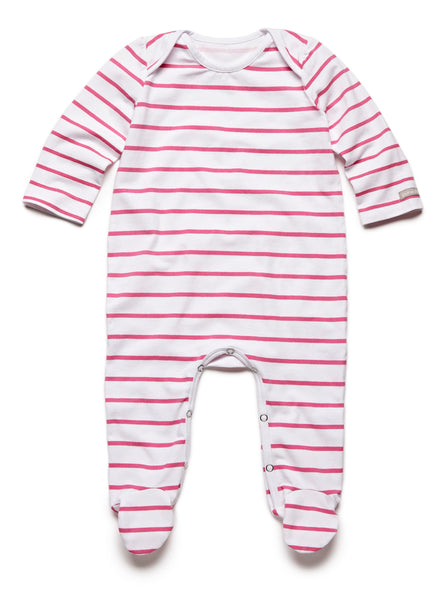 pure striped pink fullbody onesie