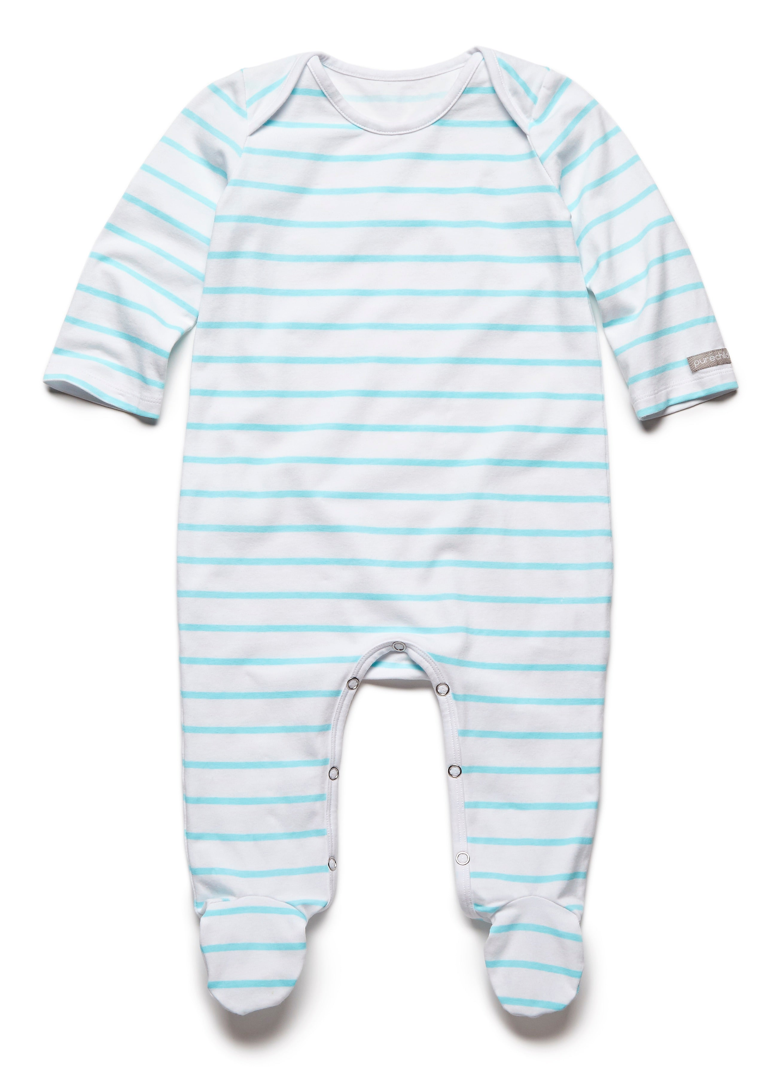 861dd2422 pure striped turquoise fullbody onesie – Purechild Clothing