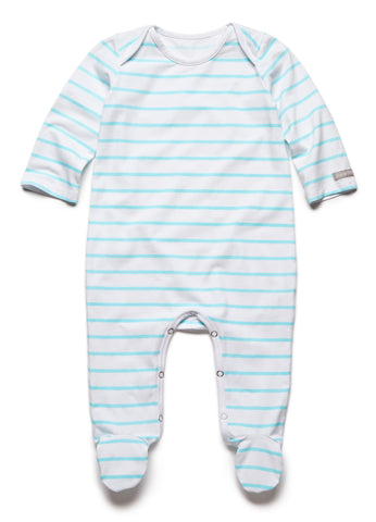 pure striped turquoise fullbody onesie