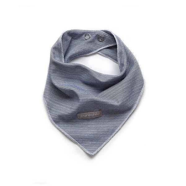 purechild blue/white stripe teething scarf, organic baby clothing