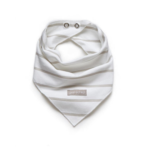 purechild white/neutral stripe teething scarf, organic baby