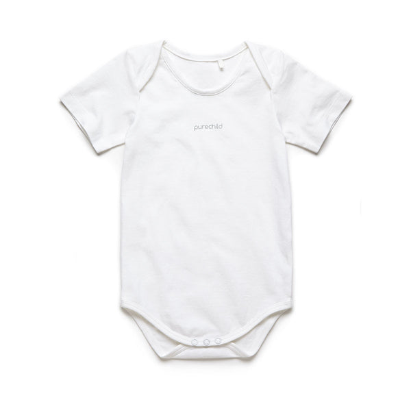 purechild short sleeve one-piece, organic baby clothing
