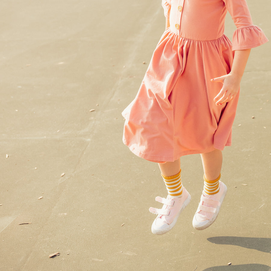 Pink Long-Sleeve Girls Dress available in sizes 18 months to 8