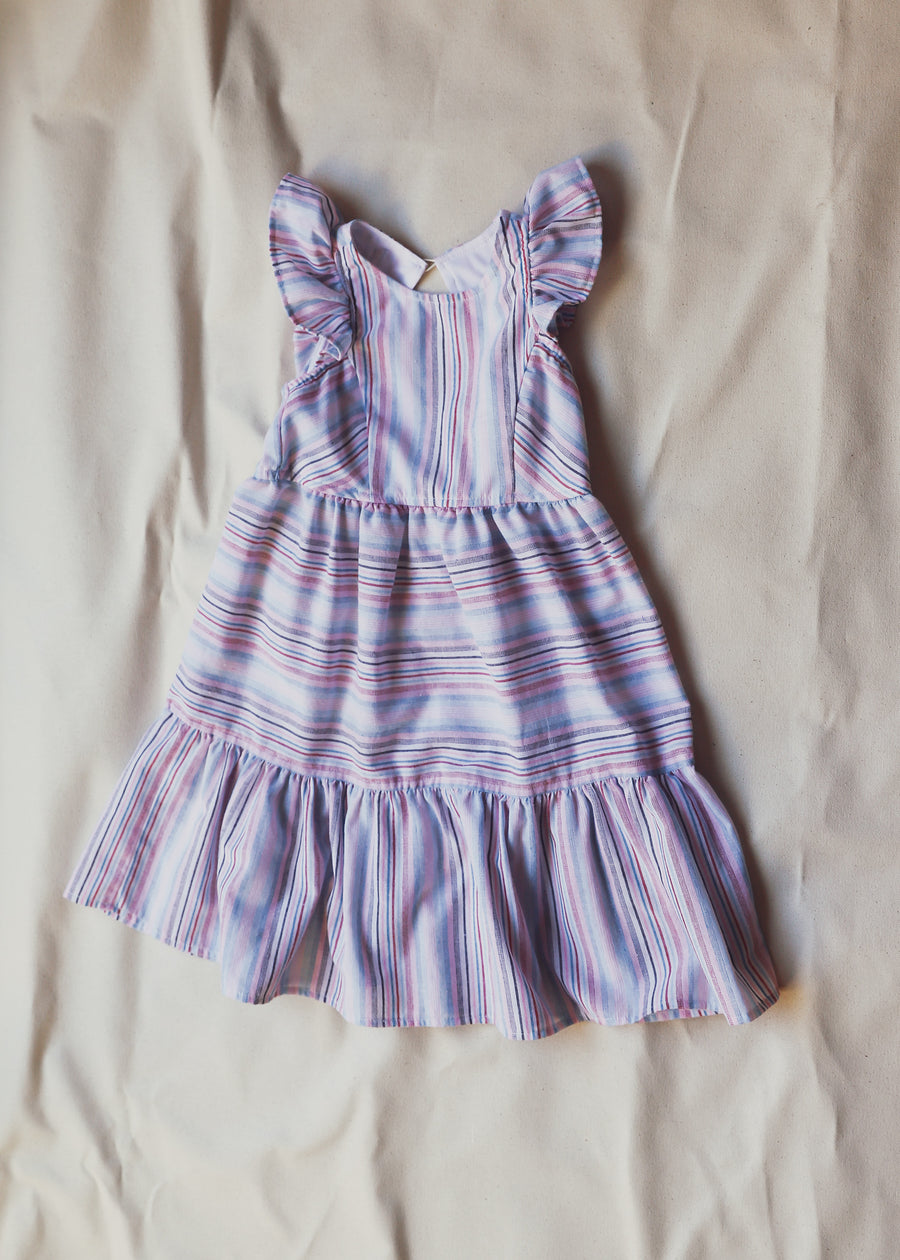 Delicate Striped 100% Cotton Girl Children's Dress With Ruffle Accent Size 2-8
