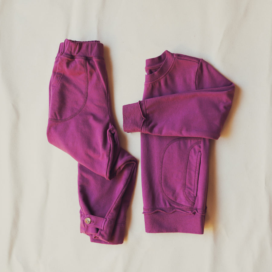 Purple French Terry Cotton Joggers With Pockets available in sizes 2 - 8 L.A.