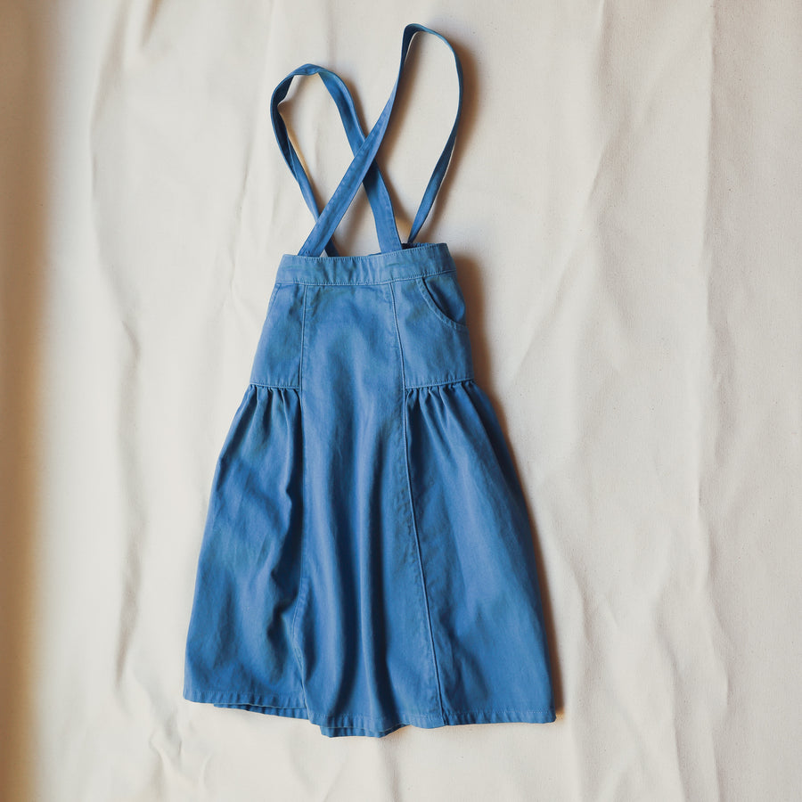 Blue Children's Ankle Length Skirt Adjustable Straps Pockets Bow 100% Cotton