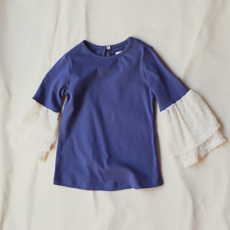 ELSIE RUFFLE TEE | COLOR: DENIM