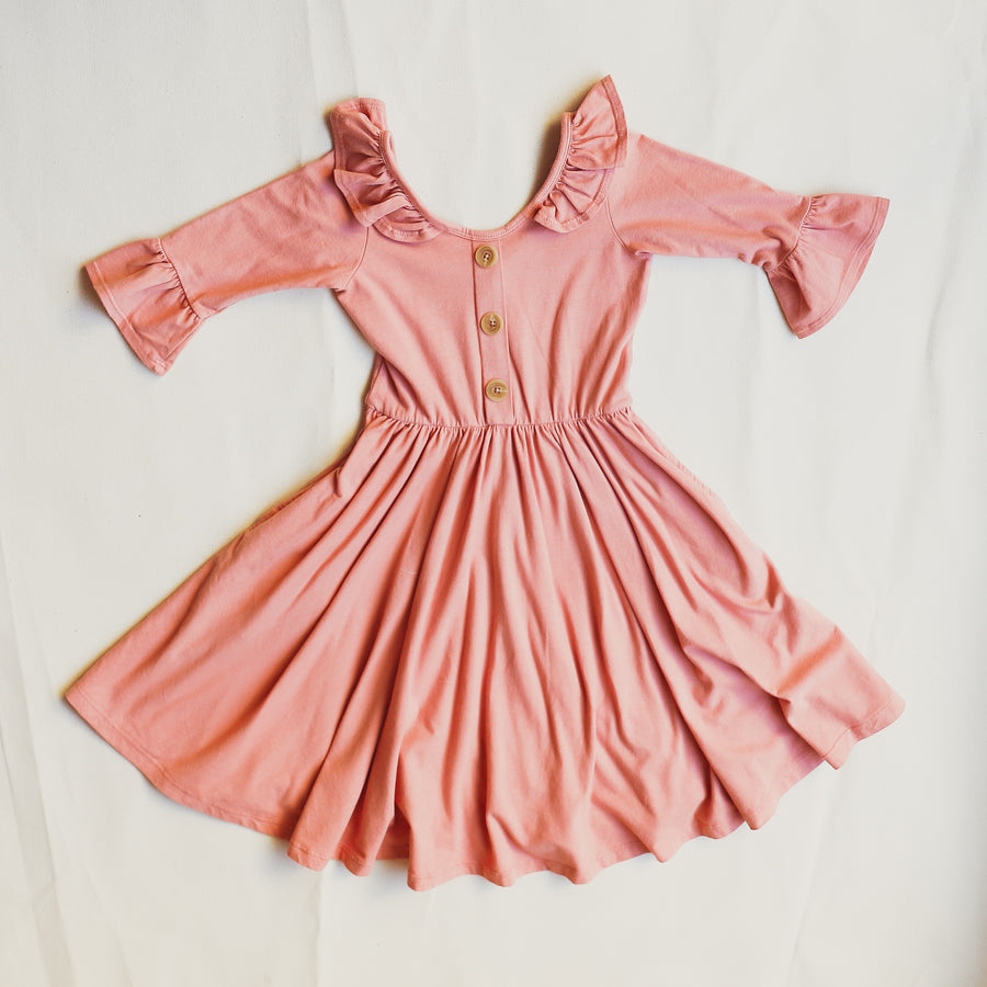 Front Pink Long-Sleeve Girls Dress available in sizes 18 months to 8