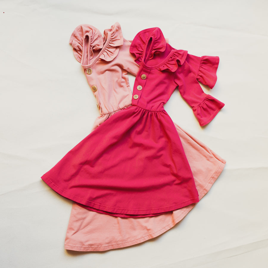 Fun Flowy Pink L.A. Made Long-Sleeve Girls Dress available in sizes 18 months to 8