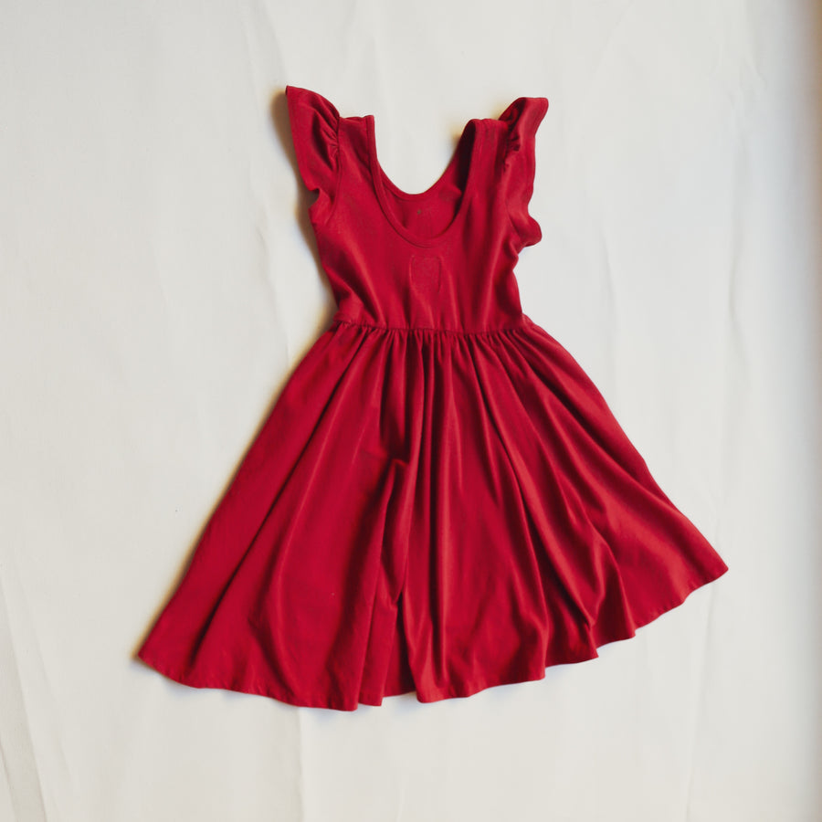 Red Cap Sleeve Girls Children's Dress Marble Button Accents Size 2-8