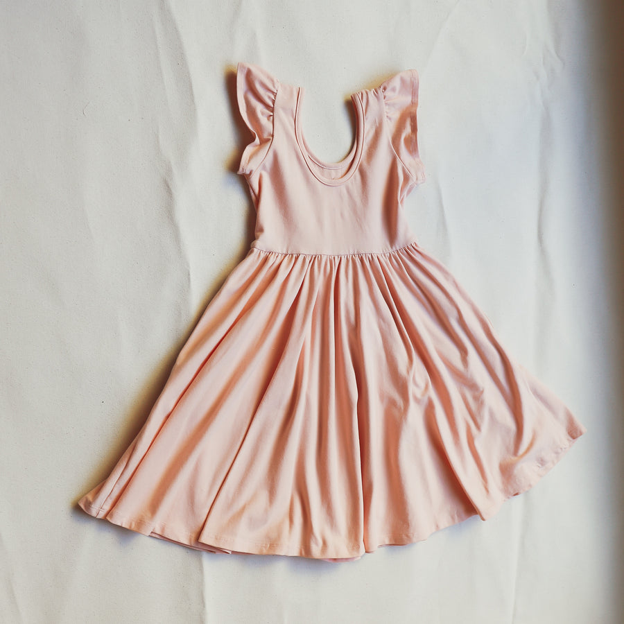 Pink Cap Sleeve Girls Children's Dress Marble Button Accents Size 2-8