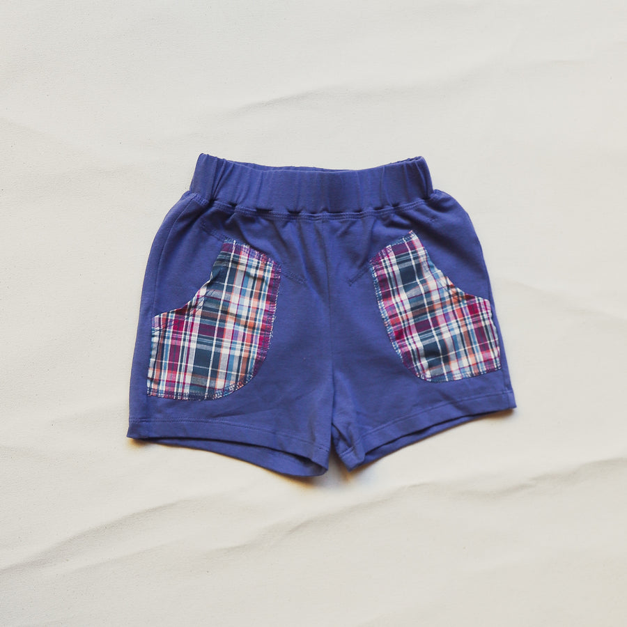 Blue Plaid Accent Hoodie and Short Set Girls Childrens Size 2-8
