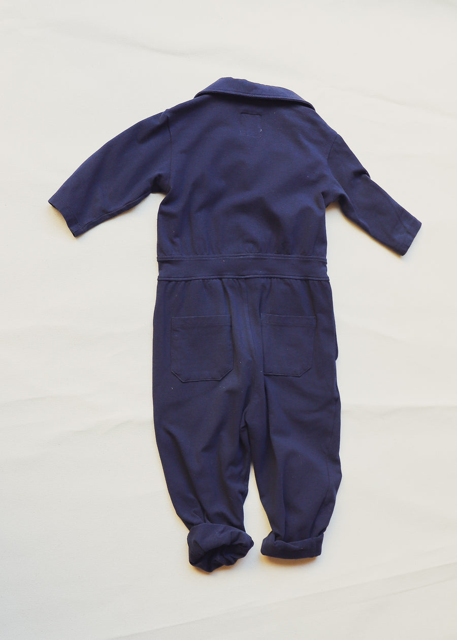 Navy Children Girls Romper Marble Button Accents Adjustable Leg Cuffs Size 2-8