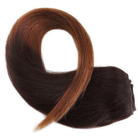 Tie & Dye CLIP IN HAIR EXTENSIONS 100% REMY Hair Straight #1BT04 Dark Brown Ft. Chocolate