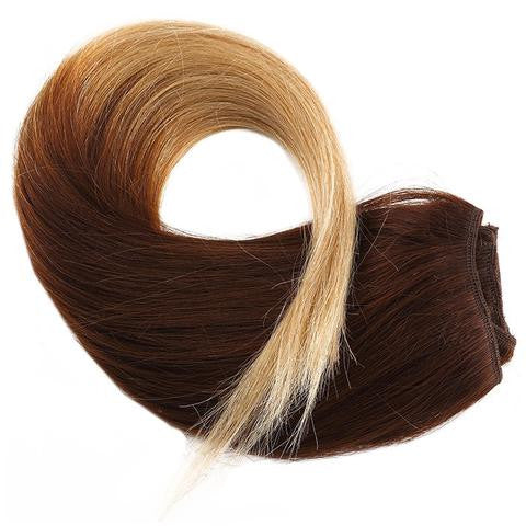 Tie & Dye CLIP IN HAIR EXTENSIONS 100% REMY Hair Straight #4T024 Chocolate Ft. Blond
