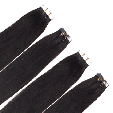 TAPE IN HAIR EXTENSIONS 100% REMY Hair Straight  #1B Dark Brown