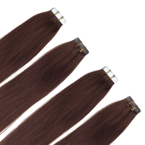 TAPE IN HAIR EXTENSIONS 100% REMY Hair Straight  #4 Chocolate