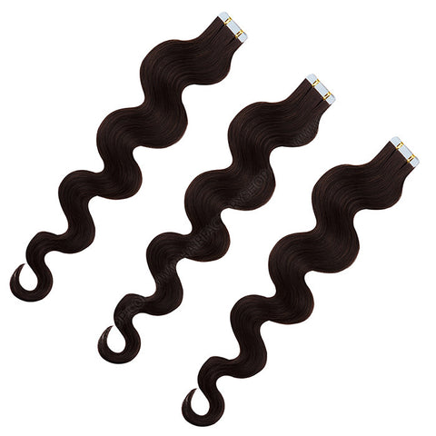 TAPE IN HAIR EXTENSIONS 100% REMY Hair Body Wave #1B Dark Brown