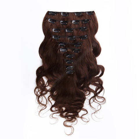 CLIP IN HAIR EXTENSIONS 100% REMY Hair Body Wave #2 Brown