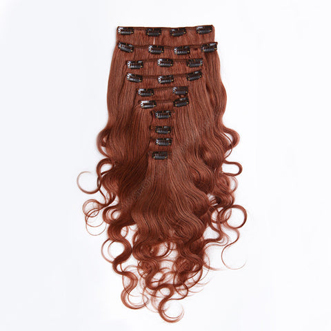 CLIP IN HAIR EXTENSIONS 100% REMY Hair Body Wave #33 Auburn